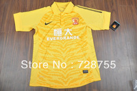 The Global Free shipping players version 13-14 Guangzhou Yellow PI players jersey Top thai quality jersey Football suit