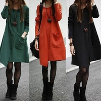 cotton blend long sleeve plus size placketing irregular casual dress women dresses new fashion 2013 autumn winter drop shipping