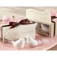 free shipping Hot selling,10 pcs/lot=5sets/lot,newest wedding favors, love bird salt pepper shaker Wedding gift Ceramic gift