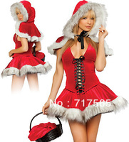 Free shipping high quality sexy christmas costume,santa clause cosplay ,women party dress