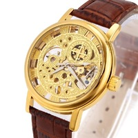 Champagne gold male watch fully-automatic mechanical watches for men gift genuine leather and steel strap optional hour