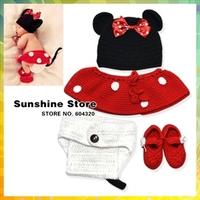 Handmade baby winter hats for girls,Cute Mickey Crochet newborn clothing set knickers kids shoes Animal cat cap #3C2615 retail