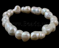 Free shipping!!!Freshwater Cultured Pearl Bracelet,gold beads, Cultured Freshwater Pearl, natural, white, 14-18mm