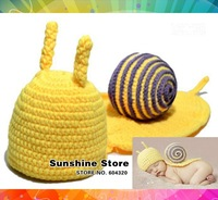 Sunshine store #3C2618  1 pcs/lot retail (yellow) baby hat handmade Crochet Hat kids Knitted snail photograph Animal cap CPAM