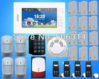 100% brand new,7 inch color display,smart touch screen gsm alarm system + 12 door sensor+4 PIR, smoke sensor+ password keypad