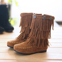 2013 female child boots tassel side zipper winter boots princess boots children shoes female fashion child