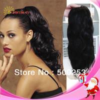 Beauty natural body wave virgin brazilian human hair drawstring fake ponytail hair extension