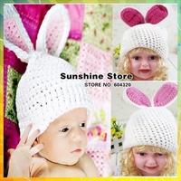 Sunshine store #3C2614  5 pcs/lot (white) baby hat handmade Crochet Hat kids Knitted rabbit Long ears photograph Animal cap CPAM