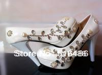 New arrival Handmade fashion bridal wedding shoes crystal rhinestone bridesmaid  party banquet shoes white