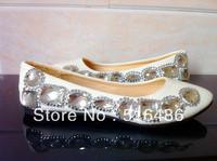 New arrival beautiful handmade  rhinestone bridal shoes bridesmaid shoes flat heel white wedding party shoes white