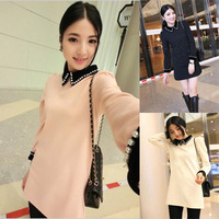 Autumn women's pearl one-piece dress long-sleeve peter pan collar one-piece dress female fashion basic short skirt