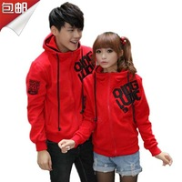free shipping 2013 spring and autumn women's lovers sweatshirt school wear plus size female hooded cardigan class service