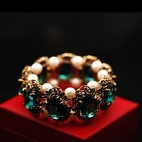 Free shipping(MOQ 10$ Mix)PB015 Retro Luxury Emerald Ruby Stack Pearl Crystal Elastic Women Bangle Wholesale