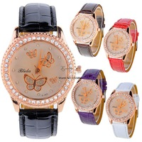 Wholesale & Retail 5pcs/lot Women's Girl Dial Rhinestone Synthetic Leather Watch Quartz Wristwatch 19205 WY