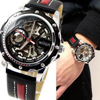 Special WILON Veyron big dial watch hollow automatic mechanical watches men's casual leather belt male table