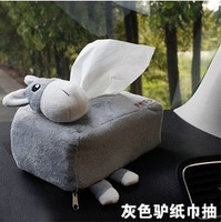 Free Shipping Cute Cartoon Paper Box Creative Car Paper Tray Automotive Interior Tissue Box Pumping Tray Accessories - Grey/Pink