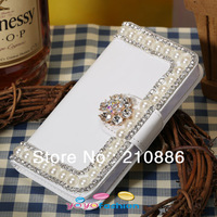PU leather phone Case Covers for iphone 4 4s/ 5 5s,bling rhinestone chain pearl crystal flower,high quality,free shipping