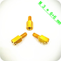 Free Shipping 1000pcs New Brass Hex Stand-Off Pillars Male to Female 6+6mm M3Good Quality