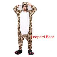 The new hot  Coral velvet pajamas cartoon animal piece pajamas for men and women Autumn and winter/ Leopard Bear