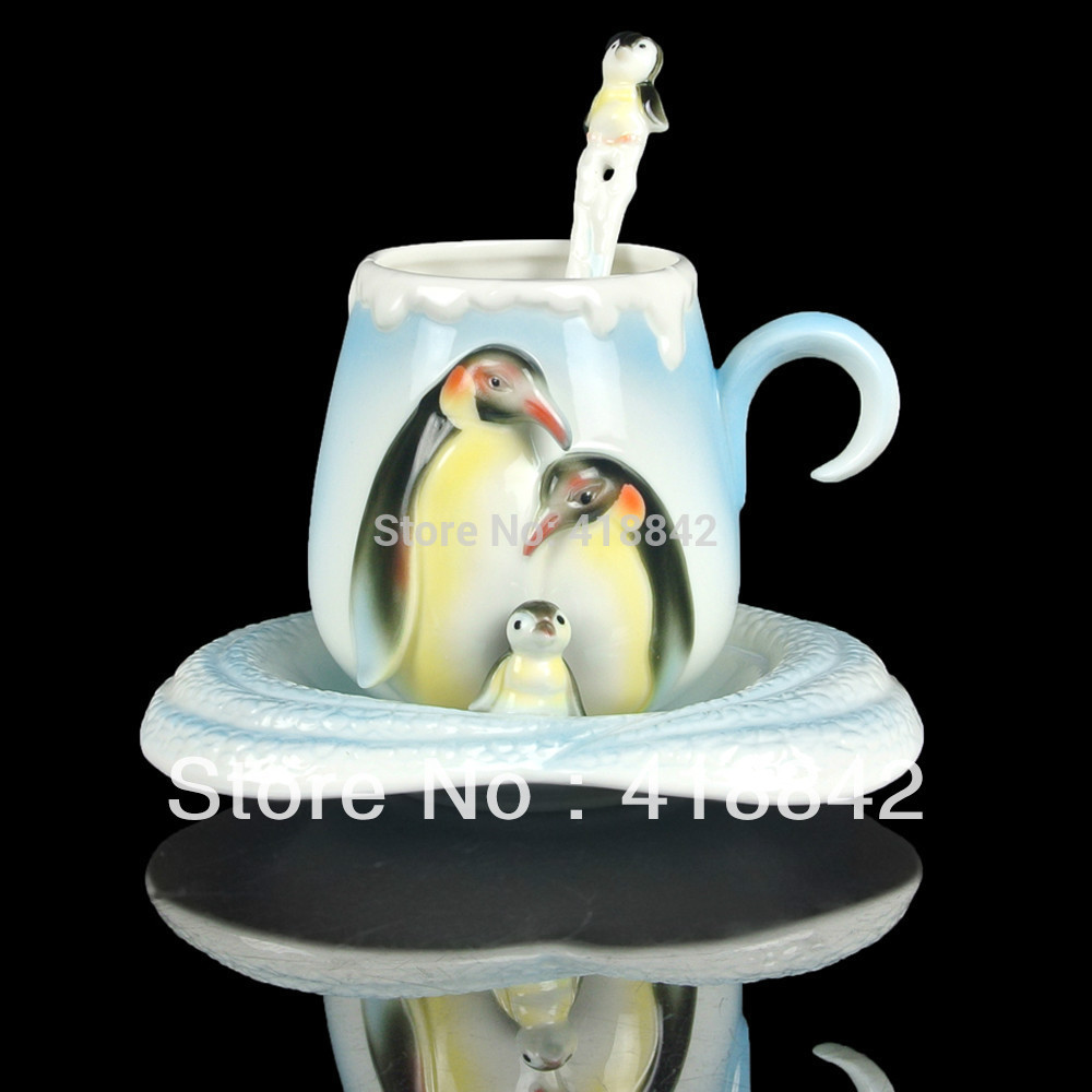 Porcelain penguin Coffee Set Tea Cup Saucer Spoon Christmas Gift
