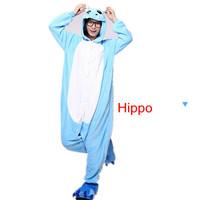 The new hot  Coral velvet pajamas cartoon animal piece pajamas for men and women Autumn and winter/Hippo