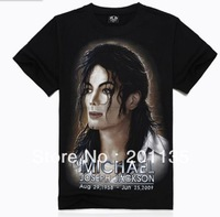 Men Black Cotton 3D Print Short Sleeve T-shirt, Michael Jackson Printed