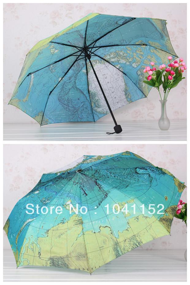 2014 NEW! Map Fashion Umbrella, Three-Foldin umbrella Mini Order 1pcs(China (Mainland))