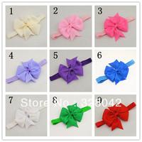 Trail order DIY 10CM Grosgrain ribbon bows on 1.5cm shimmery soft stretchy Elastic Headbands,hair accessories 45pcs/lot