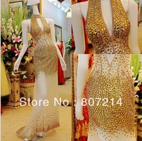 2014 Charming Halter neck gold crystal halter neck floor length luxurious prom dresses