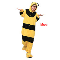 The new hot  Coral velvet pajamas cartoon animal piece pajamas for men and women Autumn and winter/Bee