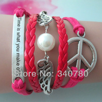 Chirstmas gift bracelet,lettering at medal,white pearl,wings fly,peace,pink and red Leather Cords faith bracelet FBY0054