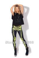 2014 Hot selling black milk for women's green skull skeleton 3D print leggings harajuku casual pencil pants plus size
