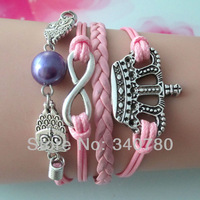 Chirstmas gift bracelet,antique silver bracelet,owls,pearl,infinity,crown,pink Leather Cords bracelet FBY0058