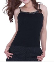 Women's spaghetti strap sleepwear four seasons 100% cotton with small vest short design sexy slim all-match basic shirt