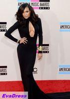 Mermaid Long Full Sleeves High Neck Open Naya Rivera Satin Online Red Carpet Prom Luxury Sexy Black Celebrity Dress