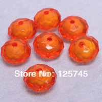 Transparent Free Shipping Orange 12*18mm Rondelle Acrylic Beads In Beads 190pcs/Lot For Chunky Necklace Jewelry DIY