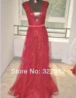 Elie Saab Couture Red V Neck Tulle Full Beads Elegant Formal Evening Prom Dress
