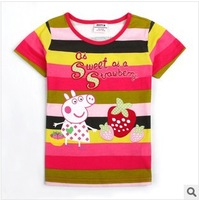 nova kids wear peppe pig short sleeve hot sales style for girls t-shirts with cherry fashion new model free shipping