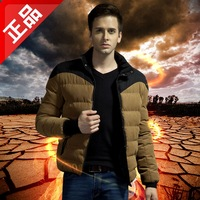 Free shipping !!! The new men's winter thick warm cold personality hit color corduroy down padded jacket / M-3XL