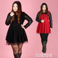 2013 plus size clothing plus size mm basic plus velvet lace one-piece dress