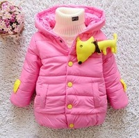 On sale New kids Children's winter coat cute cartoon brooch baby girls cotton-padded coat child thickening outerwear plus velvet