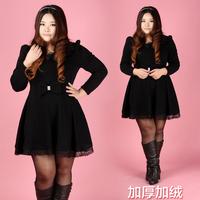 2013 plus size clothing plus size mm plus velvet basic one-piece dress