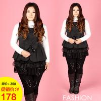 2013 plus size clothing plus size mm woolen lace layered vest one-piece dress
