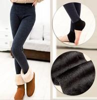 New Autumn & Winter Warm Thick Leggings For Women Slim Alpaca Seamless integration pants Plus velvet StirrupTrousers Solid color