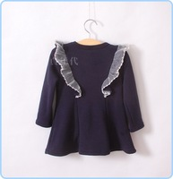 (5pcs/lot )100% cotton girl's winter dress,fashionable bow in the front of ,nice lace shoulder all in stock sale,4903