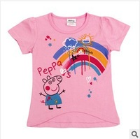 nova kids wear peppe pig short sleeve hot sales style for girls t-shirts with rainbow fashion new model free shipping K4039#