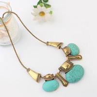 Bohemia Vintage Bag Turquoise Gem Drop Shorts Choker Statement Necklaces & Pendants New 2014 Fashion Jewelry Women Wholesale T14