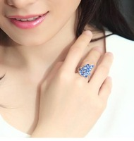 brand 18K women fashion imitate diamond sapphire wedding rings for women 2013 gold plated jewelry wholesale silver ring