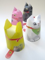 Handmade 3D  Paper Puzzle  Papar Model Lucky Cats 4 pieces/set