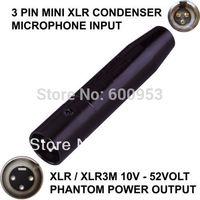 TA3F 3 PIN MINI XLR MALE CONDENSER MICROPHONE TO XLR / XLR 3-PIN MALE PHANTOM POWER ADAPTOR ADAPTER